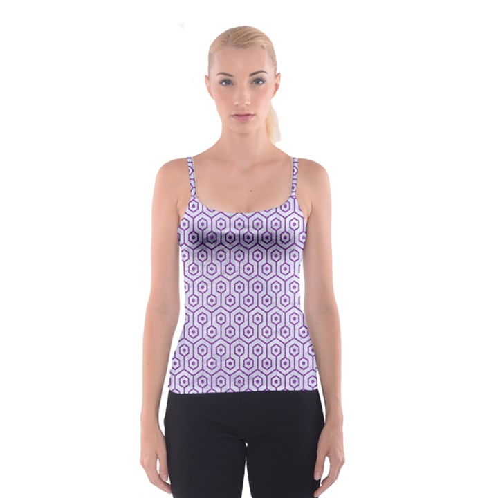 HEXAGON1 WHITE MARBLE & PURPLE DENIM (R) Spaghetti Strap Top