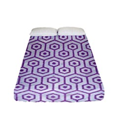 Hexagon1 White Marble & Purple Denim (r) Fitted Sheet (full/ Double Size) by trendistuff