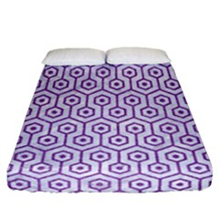Hexagon1 White Marble & Purple Denim (r) Fitted Sheet (queen Size) by trendistuff