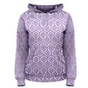 HEXAGON1 WHITE MARBLE & PURPLE DENIM (R) Women s Pullover Hoodie View1