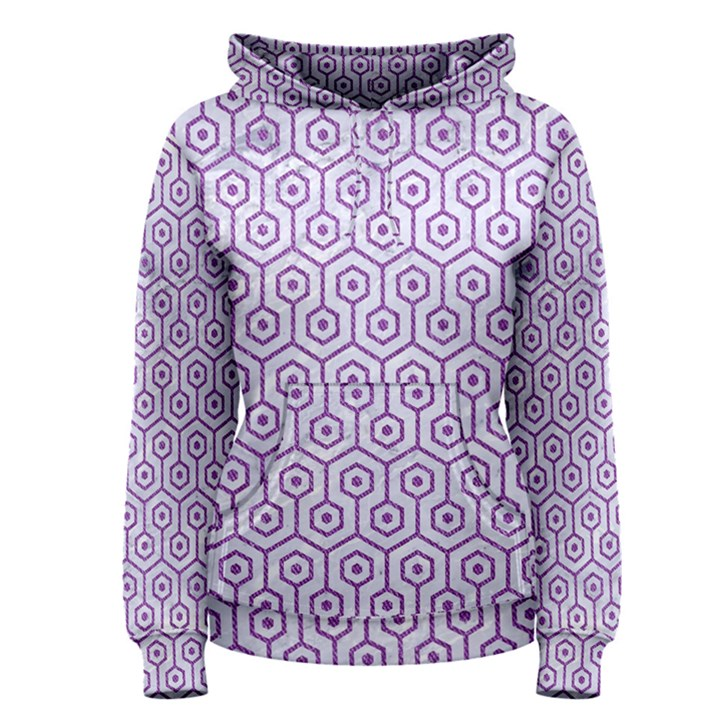 HEXAGON1 WHITE MARBLE & PURPLE DENIM (R) Women s Pullover Hoodie