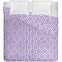 Hexagon1 White Marble & Purple Denim (r) Duvet Cover Double Side (king Size) by trendistuff