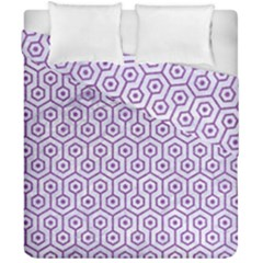 Hexagon1 White Marble & Purple Denim (r) Duvet Cover Double Side (california King Size) by trendistuff