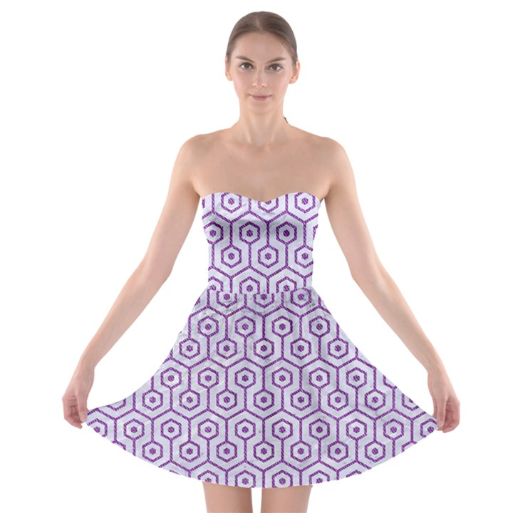 HEXAGON1 WHITE MARBLE & PURPLE DENIM (R) Strapless Bra Top Dress