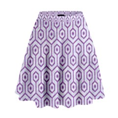Hexagon1 White Marble & Purple Denim (r) High Waist Skirt by trendistuff
