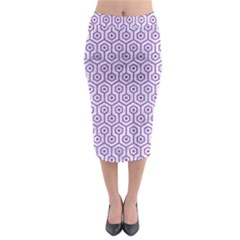 Hexagon1 White Marble & Purple Denim (r) Midi Pencil Skirt
