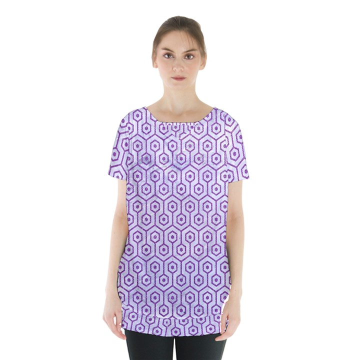 HEXAGON1 WHITE MARBLE & PURPLE DENIM (R) Skirt Hem Sports Top