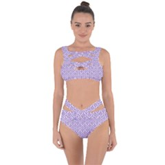 Hexagon1 White Marble & Purple Denim (r) Bandaged Up Bikini Set  by trendistuff