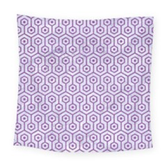 Hexagon1 White Marble & Purple Denim (r) Square Tapestry (large)