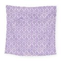 HEXAGON1 WHITE MARBLE & PURPLE DENIM (R) Square Tapestry (Large) View1