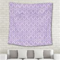 HEXAGON1 WHITE MARBLE & PURPLE DENIM (R) Square Tapestry (Large) View2