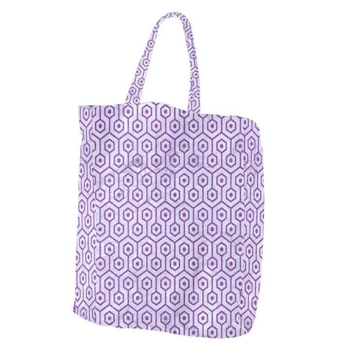 HEXAGON1 WHITE MARBLE & PURPLE DENIM (R) Giant Grocery Zipper Tote