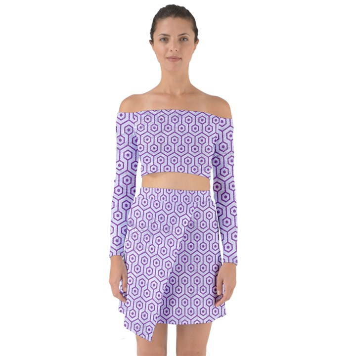 HEXAGON1 WHITE MARBLE & PURPLE DENIM (R) Off Shoulder Top with Skirt Set