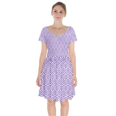 Hexagon1 White Marble & Purple Denim (r) Short Sleeve Bardot Dress by trendistuff