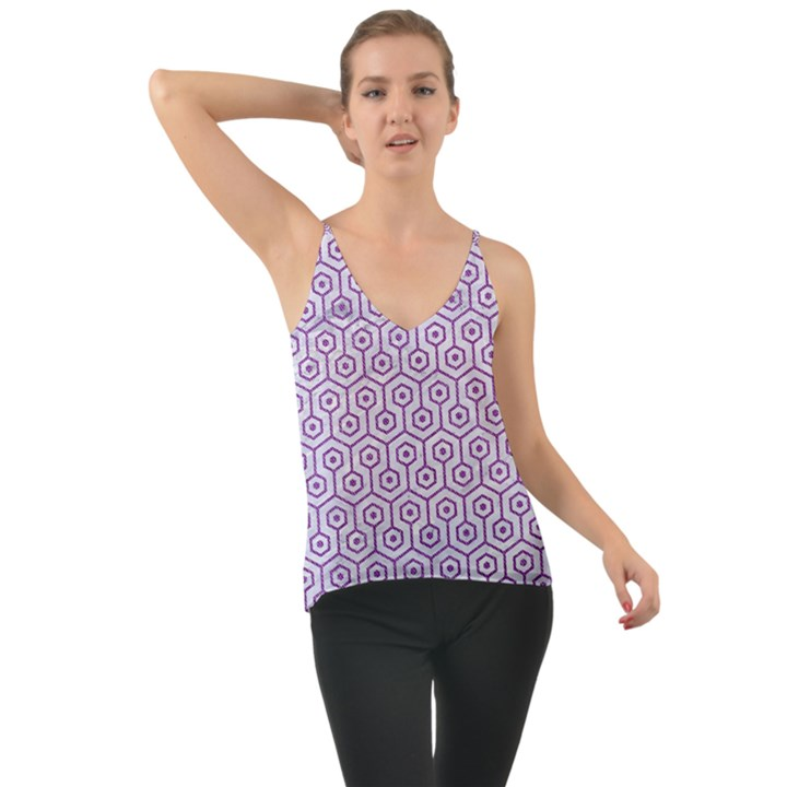 HEXAGON1 WHITE MARBLE & PURPLE DENIM (R) Cami