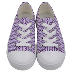 Hexagon1 White Marble & Purple Denim (r) Kids  Low Top Canvas Sneakers