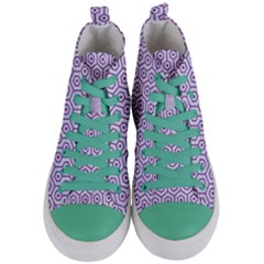 Hexagon1 White Marble & Purple Denim (r) Women s Mid Top Canvas Sneakers