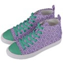 HEXAGON1 WHITE MARBLE & PURPLE DENIM (R) Women s Mid-Top Canvas Sneakers View2
