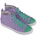HEXAGON1 WHITE MARBLE & PURPLE DENIM (R) Women s Mid-Top Canvas Sneakers View3