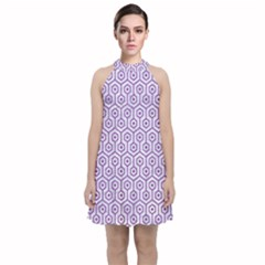 Hexagon1 White Marble & Purple Denim (r) Velvet Halter Neckline Dress  by trendistuff