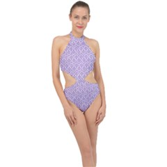 Hexagon1 White Marble & Purple Denim (r) Halter Side Cut Swimsuit by trendistuff