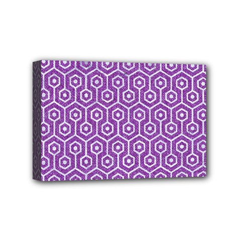 HEXAGON1 WHITE MARBLE & PURPLE DENIM Mini Canvas 6  x 4