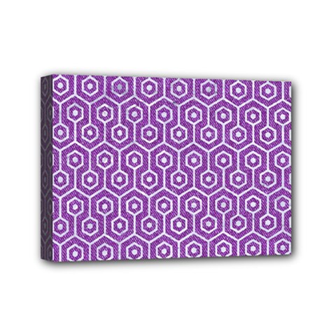 HEXAGON1 WHITE MARBLE & PURPLE DENIM Mini Canvas 7  x 5