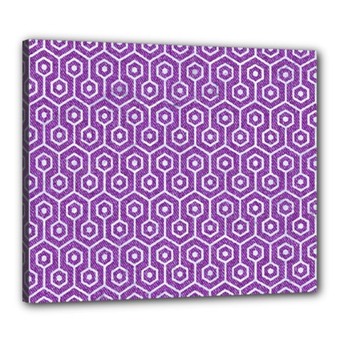 HEXAGON1 WHITE MARBLE & PURPLE DENIM Canvas 24  x 20