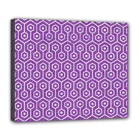 HEXAGON1 WHITE MARBLE & PURPLE DENIM Deluxe Canvas 24  x 20