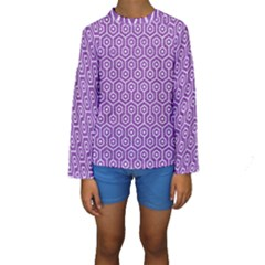 HEXAGON1 WHITE MARBLE & PURPLE DENIM Kids  Long Sleeve Swimwear