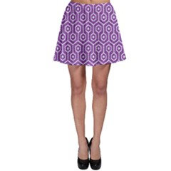 HEXAGON1 WHITE MARBLE & PURPLE DENIM Skater Skirt
