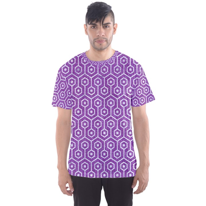 HEXAGON1 WHITE MARBLE & PURPLE DENIM Men s Sports Mesh Tee