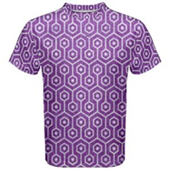 HEXAGON1 WHITE MARBLE & PURPLE DENIM Men s Cotton Tee