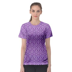 Hexagon1 White Marble & Purple Denim Women s Sport Mesh Tee