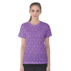 HEXAGON1 WHITE MARBLE & PURPLE DENIM Women s Cotton Tee