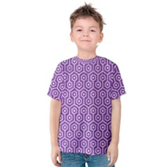 HEXAGON1 WHITE MARBLE & PURPLE DENIM Kids  Cotton Tee