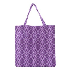 Hexagon1 White Marble & Purple Denim Grocery Tote Bag