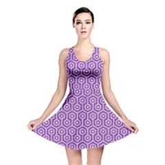 HEXAGON1 WHITE MARBLE & PURPLE DENIM Reversible Skater Dress