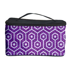 HEXAGON1 WHITE MARBLE & PURPLE DENIM Cosmetic Storage Case