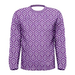 HEXAGON1 WHITE MARBLE & PURPLE DENIM Men s Long Sleeve Tee