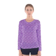 HEXAGON1 WHITE MARBLE & PURPLE DENIM Women s Long Sleeve Tee