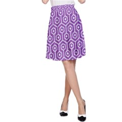 HEXAGON1 WHITE MARBLE & PURPLE DENIM A-Line Skirt