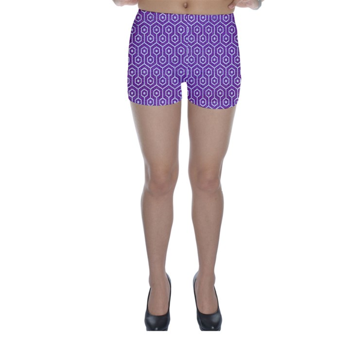 HEXAGON1 WHITE MARBLE & PURPLE DENIM Skinny Shorts