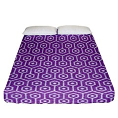 HEXAGON1 WHITE MARBLE & PURPLE DENIM Fitted Sheet (California King Size)