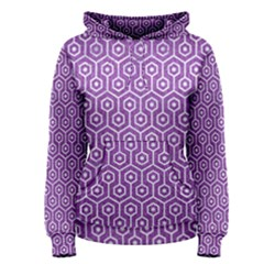 Hexagon1 White Marble & Purple Denim Women s Pullover Hoodie