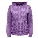HEXAGON1 WHITE MARBLE & PURPLE DENIM Women s Pullover Hoodie View1