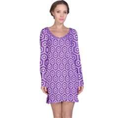 HEXAGON1 WHITE MARBLE & PURPLE DENIM Long Sleeve Nightdress