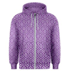 Hexagon1 White Marble & Purple Denim Men s Zipper Hoodie by trendistuff