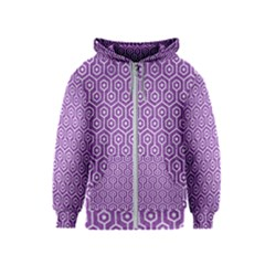 Hexagon1 White Marble & Purple Denim Kids  Zipper Hoodie by trendistuff