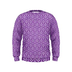 HEXAGON1 WHITE MARBLE & PURPLE DENIM Kids  Sweatshirt